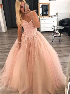 Peach Pink Sweetheart Embroidered Lace Applique Bodice Long Prom Dress