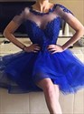Royal Blue Lace-Applique-Bodice High Low Short Homecoming Party Dress