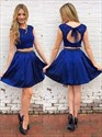 Two-Piece Royal Short Lace Applique Bodice Open-Back Homecoming Dress