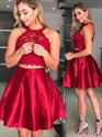 Red Two Piece Short A-Line Halter Homecoming Dresses With Lace Bodice