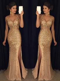 Champagne Gold V-Neck Sleeveless Crystal Prom Dress With Beaded Bodice