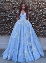 Sky Blue V Neck Ace Applique Off The Shoulder Ball Gown Prom Dresses