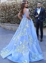 Sky Blue V Neck Ace Applique Off The Shoulder Ball Gown Prom Dresses