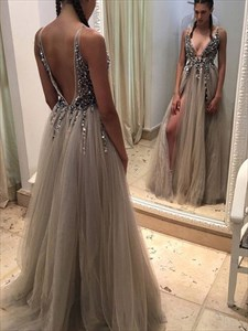 A Line Low V-Neck Long Sleeveless Tulle Prom Dress With Beaded Bodice