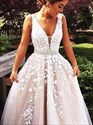 Long Glitter Low V-Neck Sleeveless Tulle Prom Dress With Beaded Bands