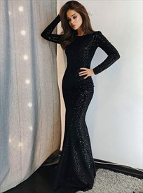 Elegant Floor Length Black Sequin Mermaid Prom Dress With Long Sleeves