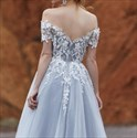 Champagne Off The Shoulder Tulle Prom Dresses With Black Lace Applique