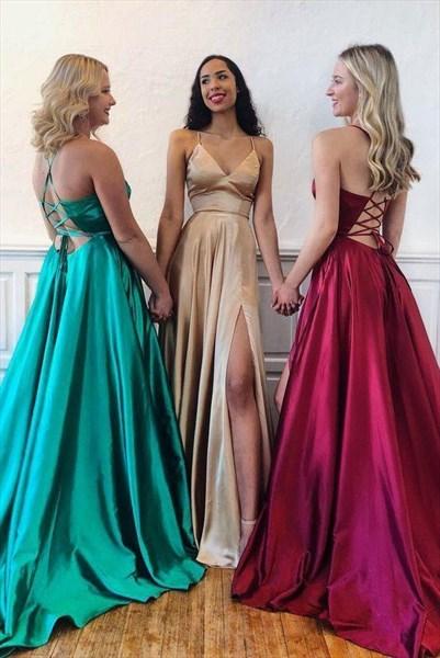 Low V-Neck Spaghetti Strap Split Front Long Prom Dress With Open Back