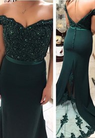Emerald Green Off The Shoulder Embroidered-Lace-Applique Prom Dresses