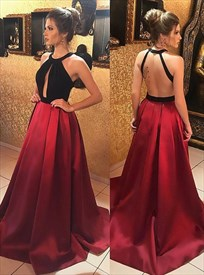 High-Neck Embellished Open Back Prom Dress With Front Keyhole Cut Out