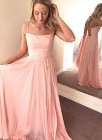 Pink Chiffon Spaghetti Strap Open Back Bridesmaid Dresses With Ruffle