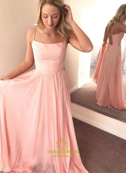 Pink Chiffon Spaghetti Strap Open Back Bridesmaid Dresses With Ruffle