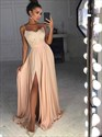 Champagne Lace Applique Spaghetti Strap Chiffon Prom Dress With Split