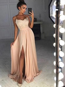 Champagne Lace Applique Spaghetti Strap Chiffon Prom Dress With Split