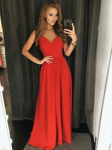 Gorgeous V Neck Spaghetti Strap Long Red Prom Dresses With Open Back
