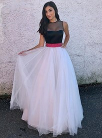 Sleeveless Black And White Tulle Long Prom Dress With Beaded Waistline