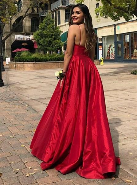 Charming Red A Line V Neck Sleeveless Satin Spaghetti Strap Prom Dress