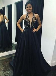 Black Low V-Neck Halter Top Prom Dresses With Lace-Embellished Bodice
