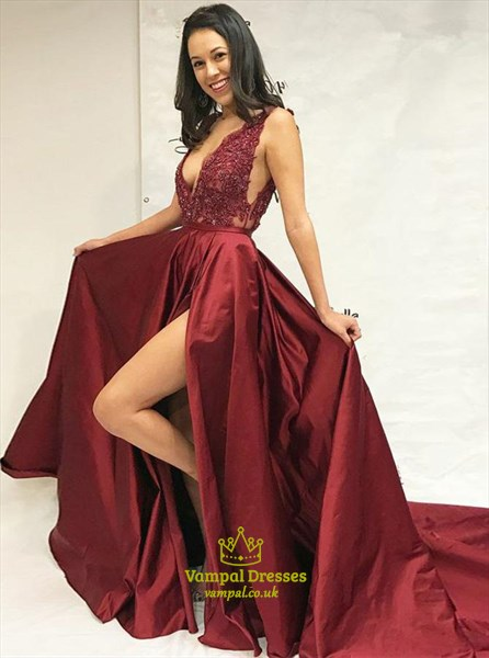 Burgundy Long V-Neck Beaded Lace Applique Prom Dress With Sheer Sides