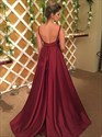 Burgundy V Neck Spaghetti Strap Sleeveless Satin Backless Prom Dresses