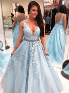 Light Blue V Neck Sleeveless Embroidered Lace Bodice Long Prom Dresses
