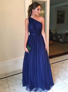 Navy Blue Long One-Shoulder Ruched Tulle Bridesmaid Dress With Ruffles