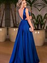 Royal Blue Low V-Neck Sleeveless Backless Prom Dress With Side Cut Out