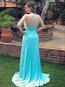 Jade Ruched V Neck Bodice Spaghetti Straps Long Prom Dress With Split