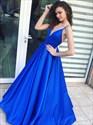 Classic Royal Blue Spaghetti Strap Satin Prom Dresses With V-Neckline