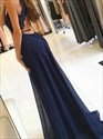 Long Navy Blue Embellished Chiffon V-Neck Prom Dress With Back Cutouts