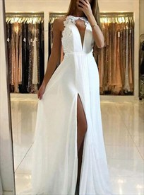 Long Navy Blue Embellished Chiffon V-Neck Prom Dress With Back Cutouts
