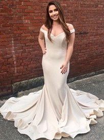 Elegant Champagne Long Off-The-Shoulder Mermaid Prom Dress With Train