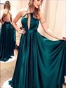 Emerald Green High-Neck Long Prom Dresses With Front Keyhole Cut Out