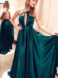 Emerald Green Mermaid High-Neck Prom Dress With Front Keyhole Cut Out