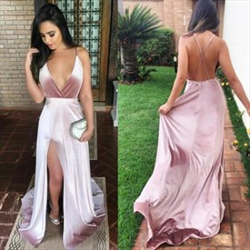 V-Neck Spaghetti Strap Side Slits Prom Dress With Crossing Back Straps