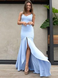 Sky Blue V Neck Sleeveless Double Layered Prom Dress With Split Front