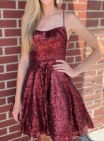 A Line Burgundy Sequin Spaghetti Strap Short Prom Dress With Open Back