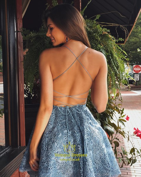Blue Spaghetti Strap Embroidered-Lace-Applique Short Homecoming Dress