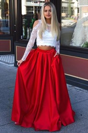 Lace Bodice Long-Sleeve Two-Piece Red And White Prom Dress With Pockets