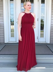 Burgundy Chiffon High Neck Long Bridesmaid Dresses With Ruched Bodice