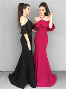 Mermaid Halter Off The Shoulder Long Prom Dresses With Flutter Sleeves