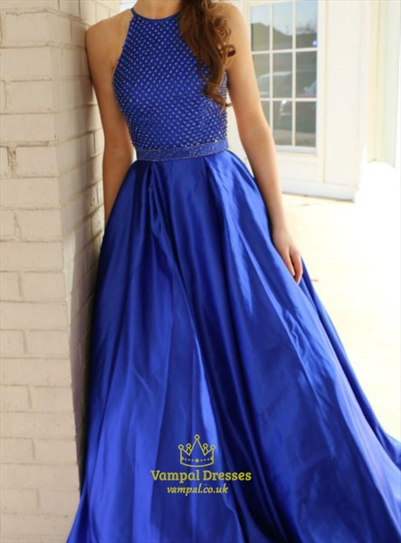 Royal Blue High Neck Long Beaded-Bodice Satin Prom Gown With Pockets
