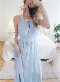 Sky Blue High-Neck Chiffon Ruched Backless Prom Dresses With Keyhole