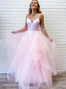 Pink Spaghetti Strap Cascading Ruffle Tulle Prom Dress With Low V-Neck