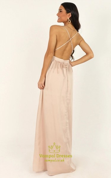 Low V-Neck Sequin Bodice Long Prom Dresses With Crossing Back Straps