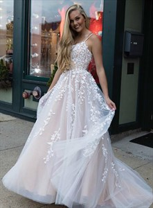 Long Ivory Spaghetti Straps Embroidered-Lace-Applique Tulle Prom Dress