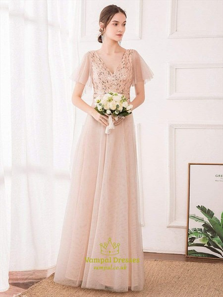 Peach V Neck Sequin Stripes Long Bridesmaid Dress With Flutter Sleeves