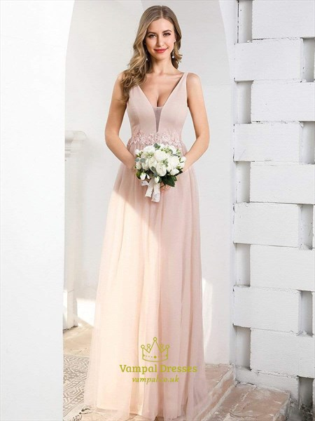 Dusty Rose Pink V Neck Tulle Long Bridesmaid Dress With Lace Appliques