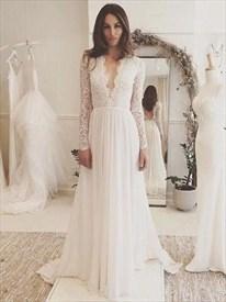 Simple Elegant A-line Wedding Dresses Long Sleeve V neck Romantic Wedding Dress With Lace
