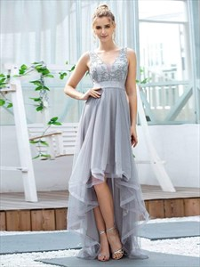 Grey V Neck Sleeveless High-Low Tulle Prom Dress With Sequin Appliques